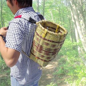 竹製 背負い籠 丸小 直径24cm×高さ33cm 収穫かご 竹籠 渋YD|plusys
