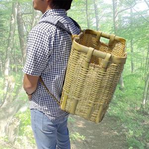 竹製 背負い籠 角小 31cm×23cm×高さ42cm 収穫かご 竹籠 渋YD|plusys