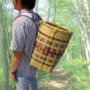 竹製 背負い籠 丸大 楕円 直径28-32cm×高さ45cm 収穫かご 竹籠 渋YD|plusys