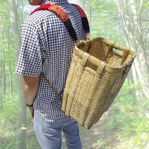 竹製 背負い籠 角大 40cm×34cm×高さ46cm 収穫かご 竹籠 渋YD|plusys