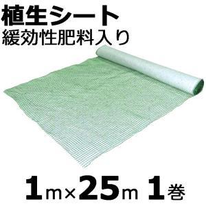 【本州限定販売】 植生シート 緩効性肥料入 1×25m 金目串付き 緑化資材 植生 シート 法面 のり面 新日本緑化 共B【代引不可】|plusys