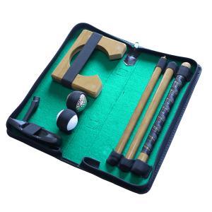 パタートラベルセット ゴルフ 持ち運び 高級 木製 練習 室内 コンパクト 渋YD