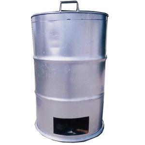 【塗装有】 シルバー ドラム缶焼却炉 フタ付き 煙突なし 200L 焼却炉 納期2週間 ミY【代引不可】|plusys