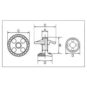 【144組】 ベルト金具 ベルトボタン HB1 No.1  ネジ径A W7/32  B 12 mm C 19.5 mm D 14.5 mm  スリーエッチ HHH H|plusys