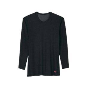 ブレスサーモ ミドルウエイト 男性用 長袖シャツ Lサイズ チャコールブラック 中厚 三冨D|plusys