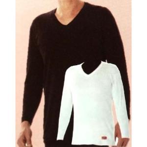 ブレスサーモ やわらかストレッチ V首 男性用 長袖シャツ Lサイズ ホワイト 三冨D|plusys