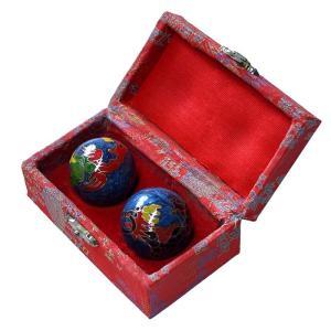 健康球 七宝焼き 2個入 健身球 健康玉 渋YD|plusys