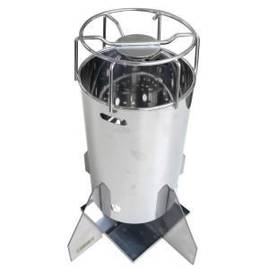 エコ楽ロケット コンロ ストーブ バーベキュー BBQ キャンプ 災害対策 モバイル SUS430 アMD|plusys