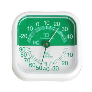 スクウェア80温湿度計 サーモ441 (グリーン) アイシー 金TD|plusys