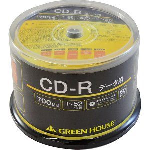 【在庫目安:あり】グリーンハウス  GH-CDRDA50 CD-R データ用 700MB 1-52倍速 50枚スピンドル インクジェット対応