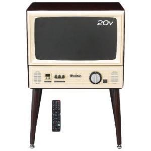 【在庫目安:お取り寄せ】ドウシシャ VT203-BR ヴィンテージスタイル20V型地上・BS・CS110度 USB外付けHDD録画機能LED液晶テレビ(和紙スピ…|plusyu