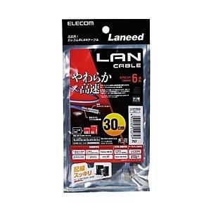 【在庫目安:僅少】ELECOM  LD-GPY/BU03 やわらかLANケーブル/ CAT6/ 0.3m/ ブルー|plusyu