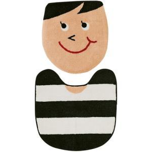 SMILE トイレマット&フタカバー セット〔ウォシュレット用〕 ブラック|plywood