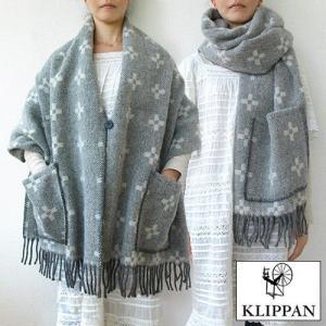 送料無料 KLIPPAN クリッパン ストール ボタン&ポケット付き スタークロス eco wool|plywood