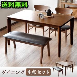 Feliz エクステンションテーブル 4点セット ダイニングテーブル No.18(ブラウン ウォールナット) 1卓+チェアNo.11 2脚+ベンチNo.14 1脚|plywood
