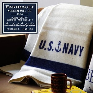 ブランケット ひざ掛け アメリカ Faribault Woolen Mill US Navy Cream 送料無料|plywood