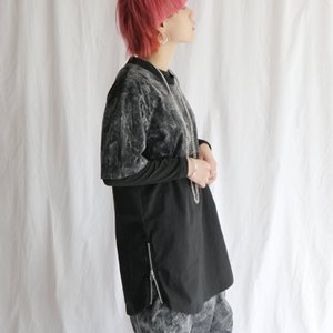 UNDER GROUND-虎馬- ブラックウォッシュ生地切り替えサイドZipデザインTシャツ/メール便不可/ttp1448/07n|pmcorporation