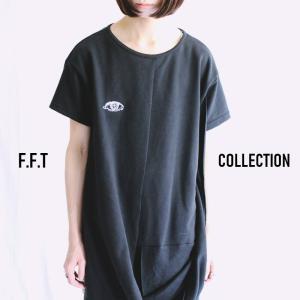 サマーバーゲン/F.F.T COLLECTION 瞳刺繍フロントドレープデザイン変形Tシャツ/1点のみメール便可能/ttp1471/07n|pmcorporation