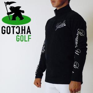 ガチャゴルフ アームプリントラグランハーフジップロンT ブラック GOTCHAGOLF 173GG1...