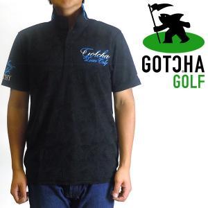 ガチャゴルフ 千鳥ボタニカル柄鹿の子ポロシャツ 半袖ポロシャツ ブラック GOTCHA GOLF 1...