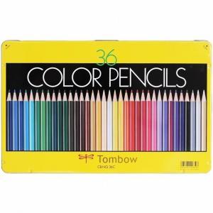 送料無料トンボ鉛筆色鉛筆36色セットCBNQ36C缶入り