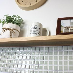 モザイクタイルステッカー ハルちゃん ランドマーク 25×25mm角(15×15cmシート)ナチュラルグレー|pocchione-kabegami