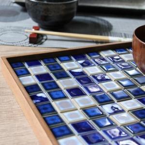 モザイクタイルステッカー ハルちゃん パルメザンアンティーク 25×25mm角(15×15cmシート)ブルー×グレー|pocchione-kabegami