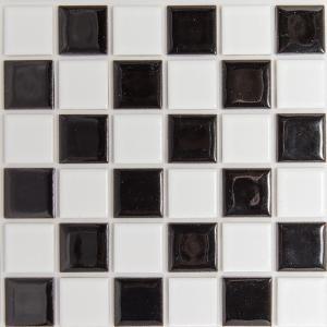 モザイクタイルステッカー ハルちゃん ハイカラーV MIX(市松) 25角(15×15cmシート) ブラック|pocchione-kabegami
