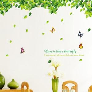ウォールステッカー グリーン アーチ 木と蝶 自然|pocchione-kabegami