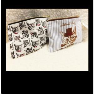 猫柄フラットポーチ クラシカルネコデザイン コスメポーチ  お届け方法 ゆうパケットメール便