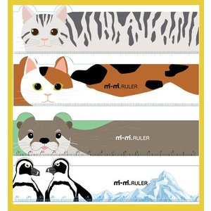 日本製 ダイカットルーラー 15センチスケール mimi RULER  ネコ ペンギンカワウソ アニ...