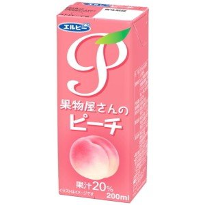 エルビー 果物屋さんのピーチ 200ml紙パック 24本入 (果汁20%ジュース ももジュース 桃)|pocket-cvs