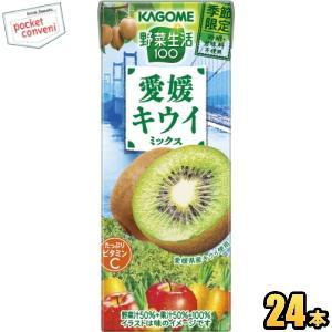 カゴメ 野菜生活100 愛媛キウイミックス 195ml紙パック 24本入 (野菜ジュース)|pocket-cvs