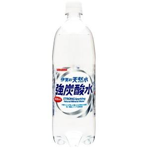 1000mlサイズ『炭酸充填量5.0GV』 サンガリア 伊賀の天然水 強炭酸水 1Lペットボトル 12本入 (STRONG Sparkling)|pocket-cvs