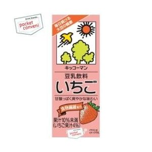 キッコーマン 豆乳飲料 いちご 200ml紙パック 18本入 (豆乳飲料)|pocket-cvs