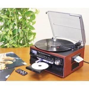 木製マルチレコードプレーヤー USB SD CD レコード カセット pocketcompany
