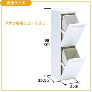 ダストボックス 分別 縦型 二段分別ダストボックス 分別ゴミ箱 スリム 2段|pocketcompany|04