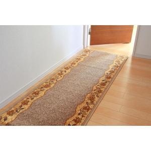 廊下敷き ナイロン100% 『リーガ』 ベージュ 約80×440cm 滑りにくい加工|pocketcompany