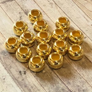 15個 12mm 大穴 プラスチック ビーズ ゴールド|pod-material