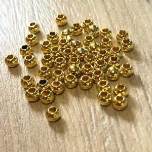 50個 4mm プラスチック ビーズ ゴールド|pod-material