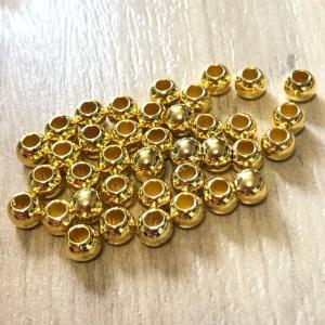 40個 6mm プラスチック ビーズ ゴールド|pod-material