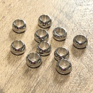 プラチナカラー 金属 大穴 ビーズ 5mm径 10個セット|pod-material