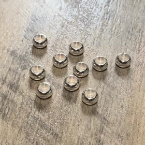 シルバー 金属 大穴 ビーズ 5mm径 10個セット|pod-material
