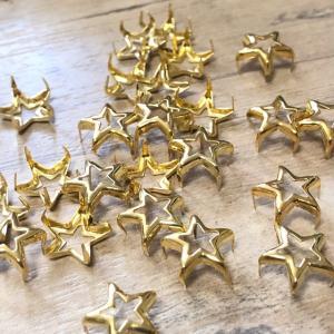 ゴールド 中穴 爪折り式 星スタッズ 12mm  20個セット|pod-material