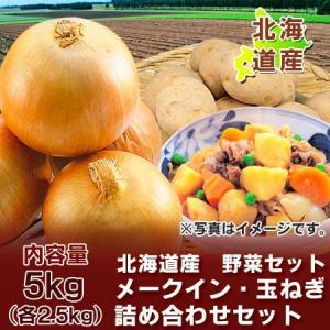 「北海道産 野菜 送料無料」 北海道産のメークインとたまねぎ 「野菜セット」 詰合せ5kg(各2.5kg)化粧箱入り 価格 2222 円 ゾロ目|pointhonpo