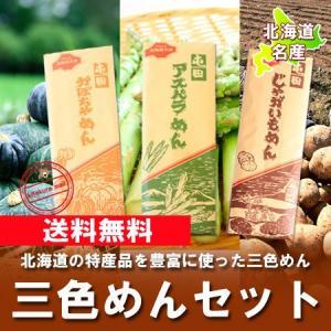 北海道 麺 送料無料 メール便 北海道産じゃがいも かぼちゃ アスパラ使用した めんセットを送料無料 価格 1200 円 「クーポン 1200 ポイント」|pointhonpo