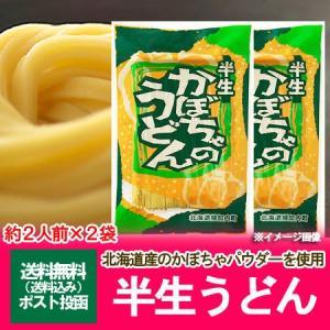 「半生うどん 送料無料」北海道産小麦とかぼちゃのパウダーを練り込んだ かぼちゃうどん(半生うどん)240g×2個(2袋) 価格 850 円|pointhonpo