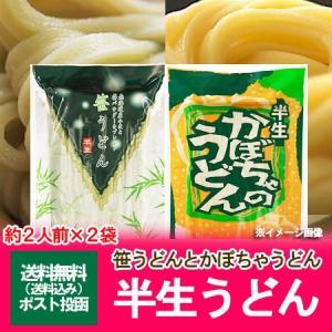 「半生うどん 送料無料」北海道産小麦を使用した半生うどん セット (笹うどん・かぼちゃうどん) 240 g(約2人前)×2個(2袋) 価格 850 円|pointhonpo