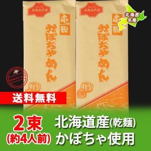 「北海道 かぼちゃめん(麺) 送料無料」北海道のかぼちゃを使用したかぼちゃめん(麺) 200 g×2束 価格 890 円「送料無料 メール便 うどん」|pointhonpo