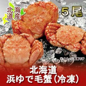 「北海道 毛がに 浜ゆで」 北海道産の浜ゆで毛ガニをお届け!北海道で水揚げされた毛蟹(毛ガニ) 5尾 合計約2.2kg|pointhonpo